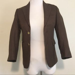 CHAPS Brown Houndstooth Blazer Size 10R Check Mate
